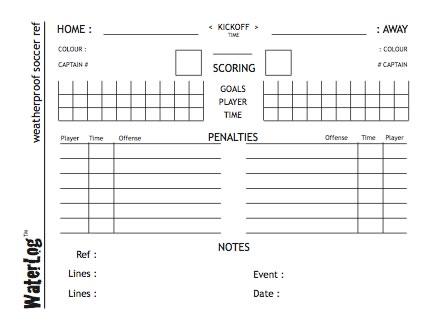 WaterLog weatherproof soccer ref scorecard