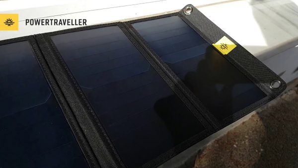 powertraveller falcon 21 solar panel outside