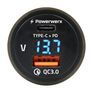 powerwerx panel mount usb qc 30 usb-c pd voltmeter